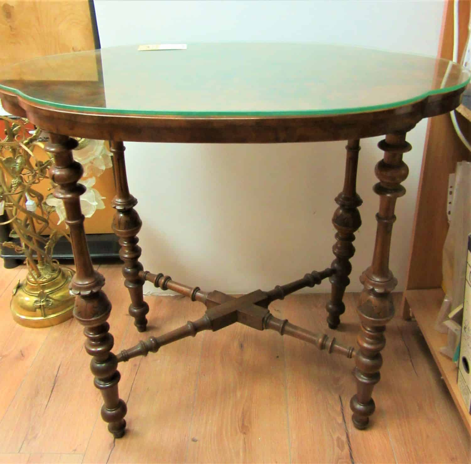 A stunning rare german burr walnut occasional table circa 1880s in exceptional condition with glass on top to protect wood