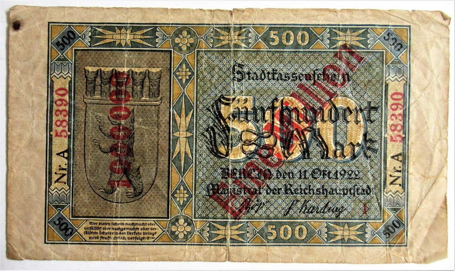Fascinating German banknote: 500,000 mark from 1922/3. Due to inflation, by the time the bill was printed, the government had to put on a stamp on it for one million (and added a series number to avoid forgeries). Very rare; should get official grading. Condition: Fine