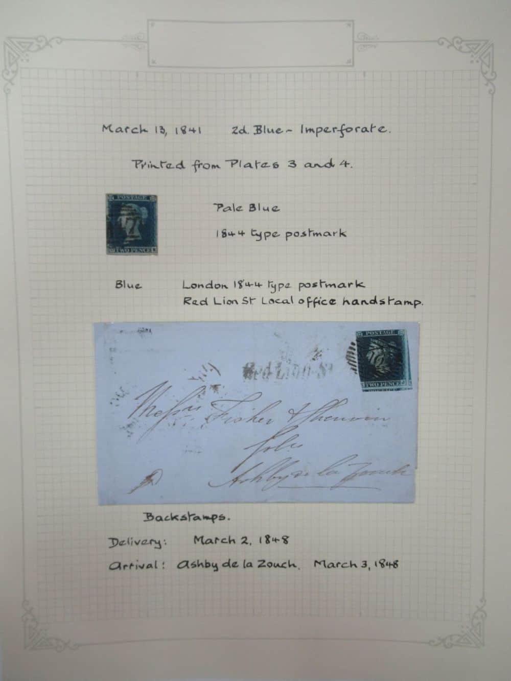 אנגליה, 1848! BLUE PENNY בול לא משונן + בול לא משונן על מכתב
