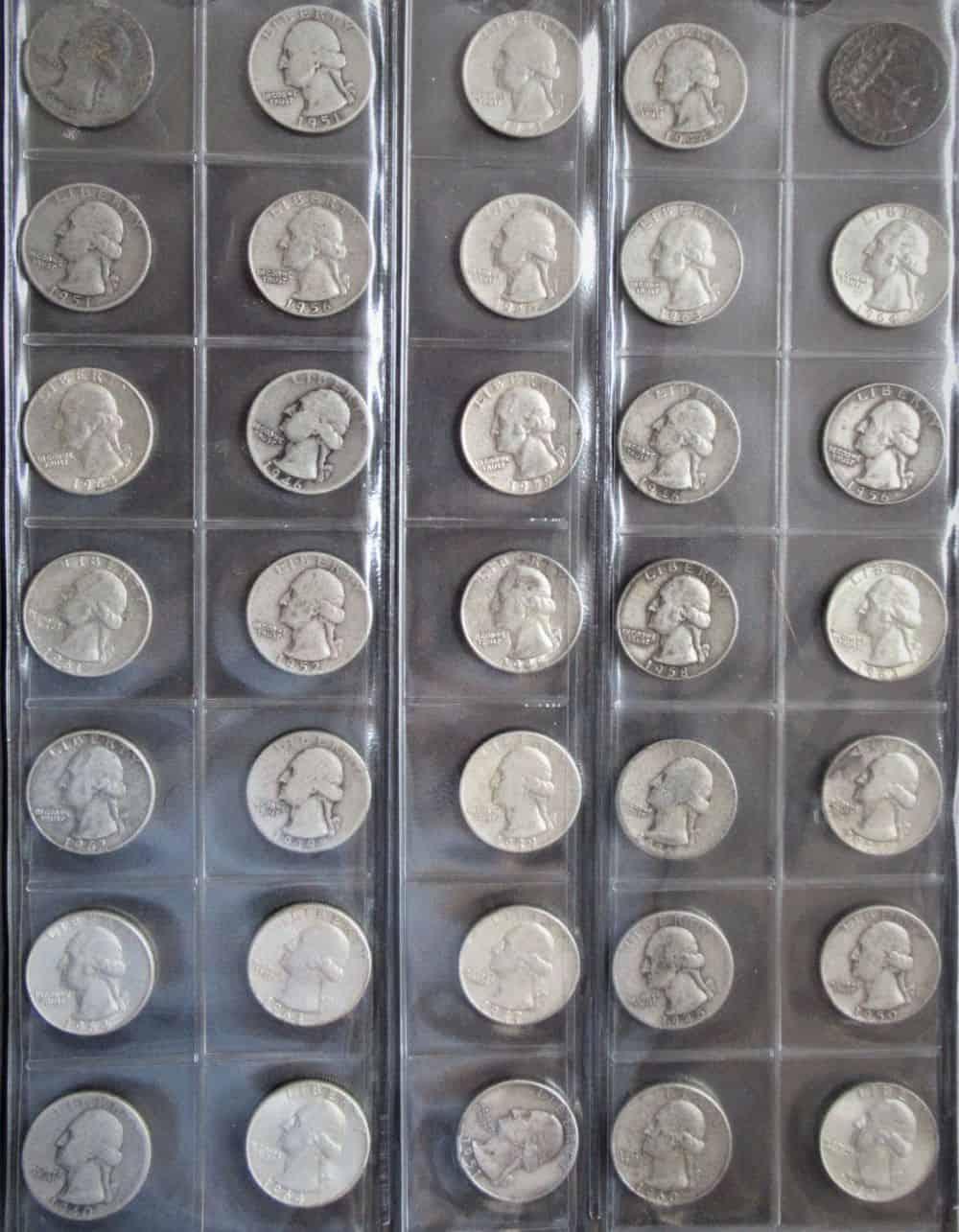 35 מטבעות רבע דולר עשוי כסף 0.900, משנים 1934 עד 1964. משקל כולל:217.36גרם.