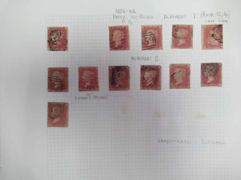 72 בולי RED PENNY הבול השני שהופק בעולם, חותמות שונות.
