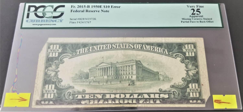 שגיאה נדירה בשטר 10 דולר 1950, מדורג! הדפסה כפולה של צד קדמי על צד אחורי.