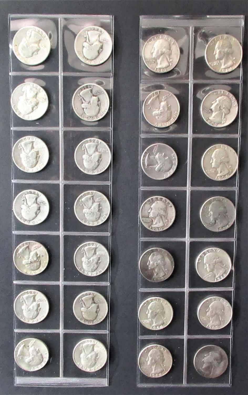 28 מטבעות כסף של רבע דולר בין השנים 1935-1964