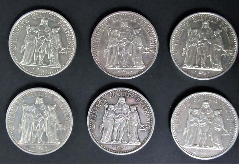 6 מטבעות כסף - 10 פרנק 1965, צרפת, מצב UN משקל כולל149.4 גרם