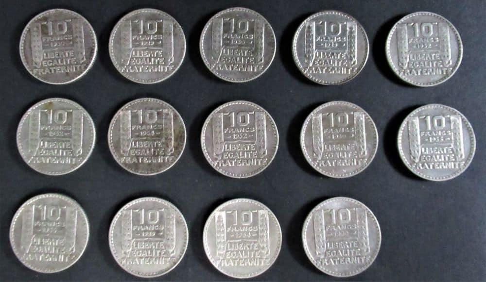 צרפת-15 מטבעות כסף 10 פרנק שנים 1929-1934 מצבים מצוינים. 138 גרם.