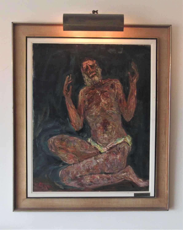 """איוב- יצחק פרנקל פרנל, שמן על בד, ציור מוזיאוני גדול, מידות: גובה -91.5 ס""""מ, רוחב - 72.5ס""""מ"""