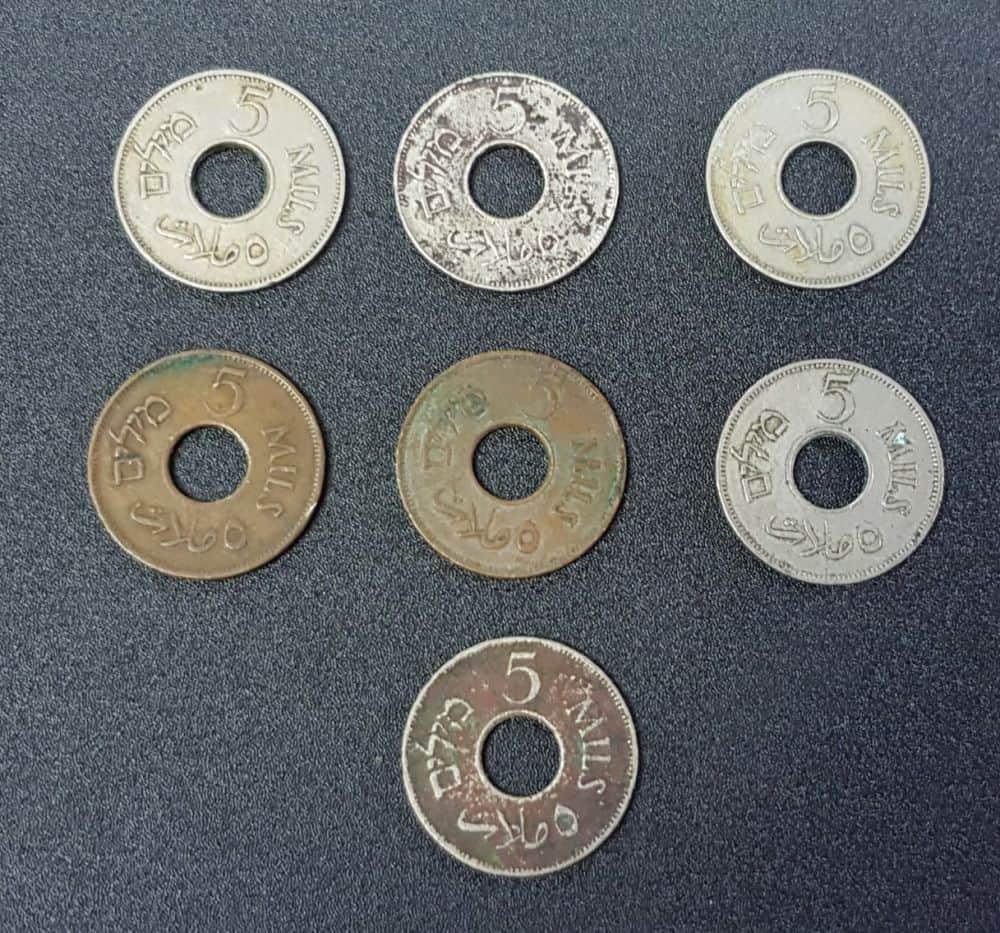 7 מטבעות של 5 מיל, שנים 1927+1935+1939+1941+1946+ 1942 נחושת+1944 נחושת. מצבים שונים