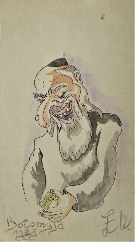 """קריקטורות אנטישמיות- לוט נדיר של ארבע קריקטורות צבעוניות צבועות אקוורל, משנים 1933-4-5-7. חתומות Botomyja. מוטיב חוזר של יהודים עם אף ארוך וכסף... גודל ממוצע 20-24ס""""מ, גובה 12-14 ס""""מ רוח"""